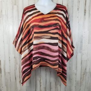 Dana Buchman Womens Top M Orange Brown Poncho